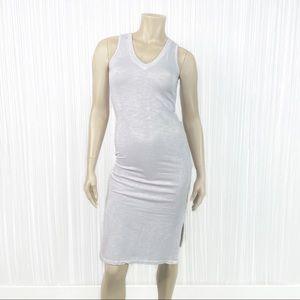 MONROW Side Slit V Neck Dress Small